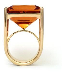 Artisan studio jewelry, citrine and gold ring