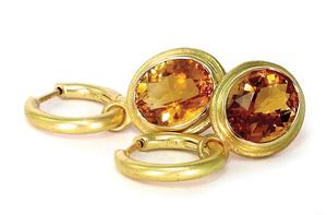 Artisan Citrine earrings, 18 karat yellow gold Infinity Hoops