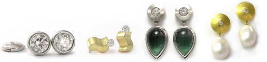 Earstud Earrings in gold with diamonds pearls and Tourmaline by Martinus