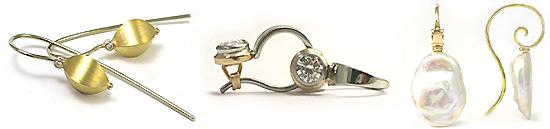 Shepherd Hook Earrings in Gold or Platinum, Gems and Pearls - Martinus