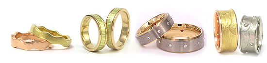 Wedding Rings in 3 gold colours - Jewelry Design by Martinus