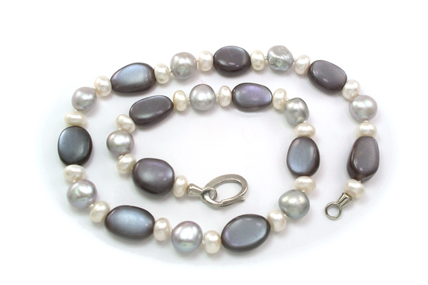 Labradorite moonstone, gray and white pearls composition with Marinus handmade tendril clasp