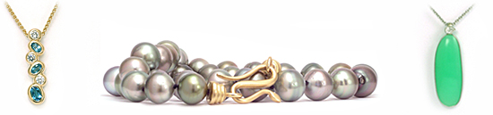 Pendants and Necklaces in Gold, Pearls, gems and diamonds - Martinus