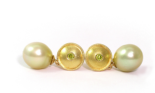 Ear Stud Earrings in yellow gold with south sea pearls and diamonds